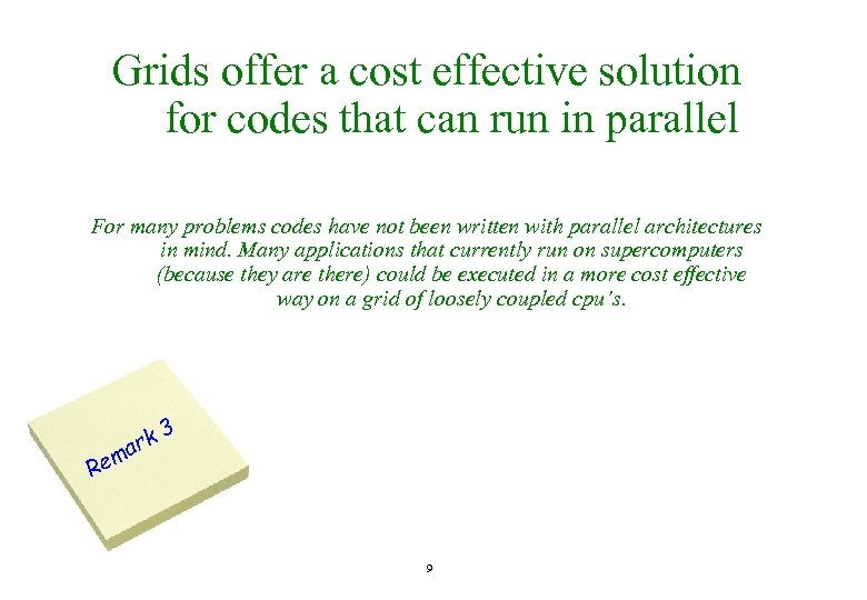 Grids offer a cost effective solution for codes that can run in parallel For