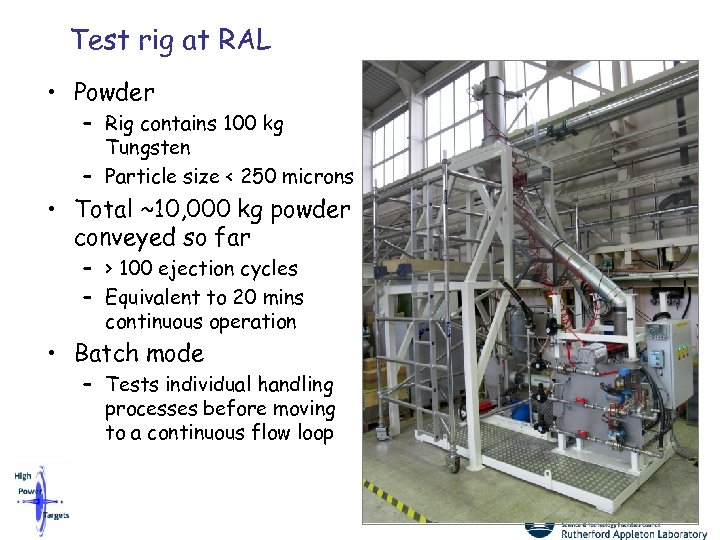 Test rig at RAL • Powder – Rig contains 100 kg Tungsten – Particle