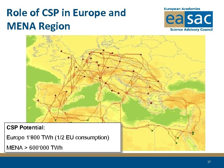 Role of CSP in Europe and MENA Region CSP Potential: Europe 1' 800 TWh