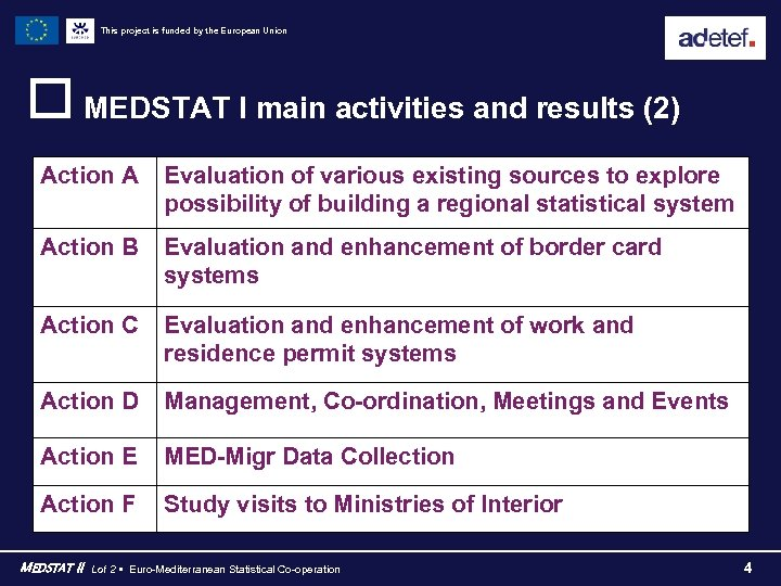 This project is funded by the European Union o MEDSTAT I main activities and