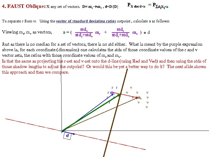 4. FAUST Oblique: X any set of vectors. D≡ mr mv , d=D/|D| PX