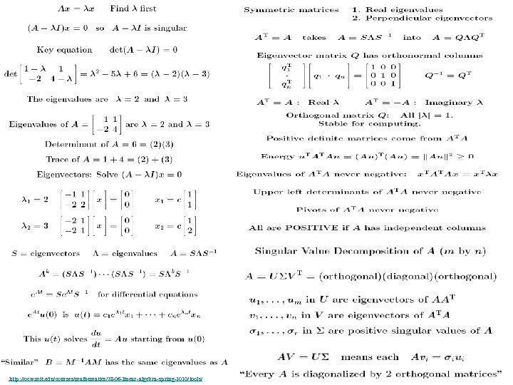 http: //ocw. mit. edu/courses/mathematics/18 -06 -linear-algebra-spring-2010/tools/