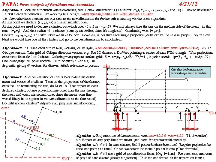 PAPA: Ptree Analysis of Partitions and Anomalies 4/21/12 Algorithm-1: Look for dimension where clustering