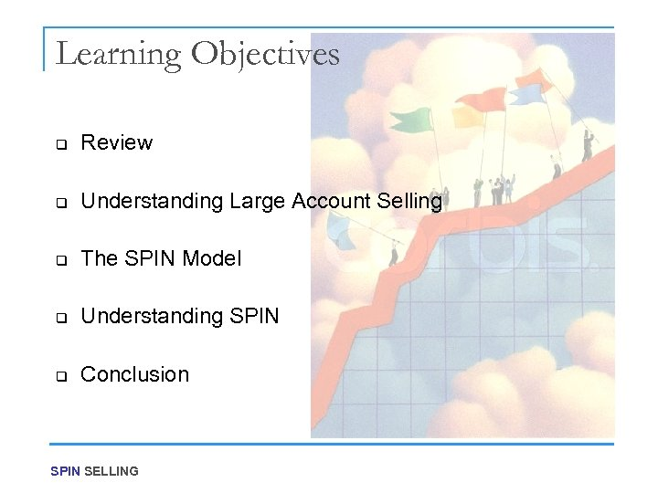 Learning Objectives q Review q Understanding Large Account Selling q The SPIN Model q