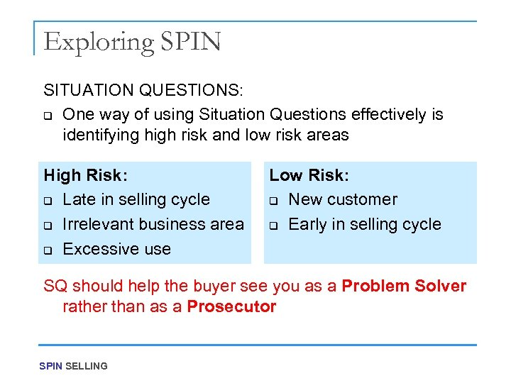 Exploring SPIN SITUATION QUESTIONS: q One way of using Situation Questions effectively is identifying