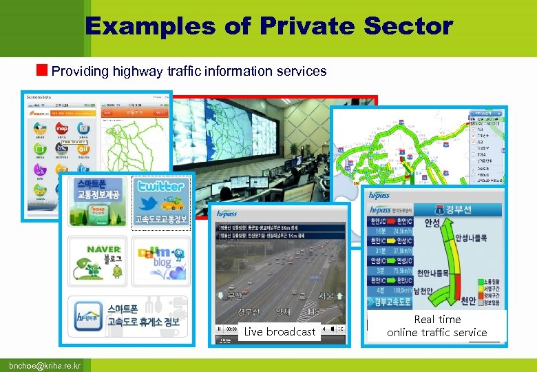 Examples of Private Sector Providing highway traffic information services Live broadcast bnchoe@krihs. re. kr