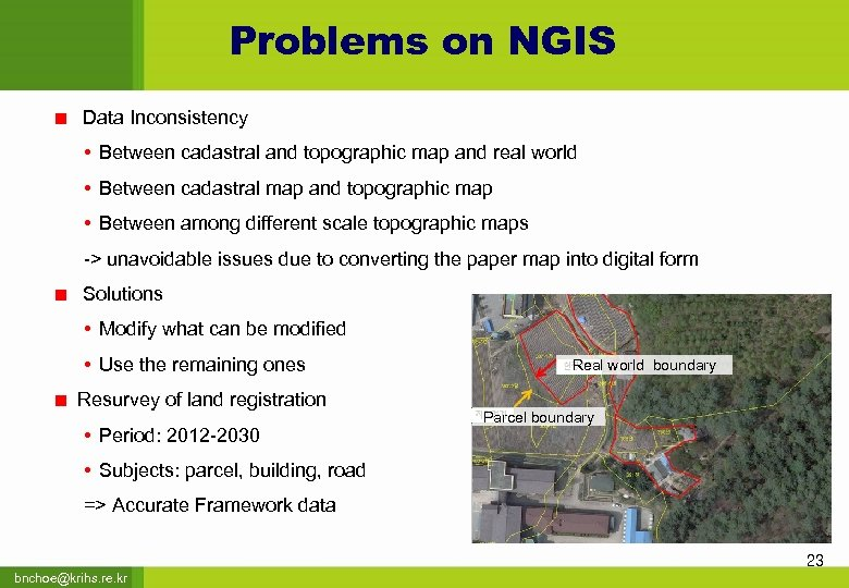 Problems on NGIS Data Inconsistency • Between cadastral and topographic map and real world