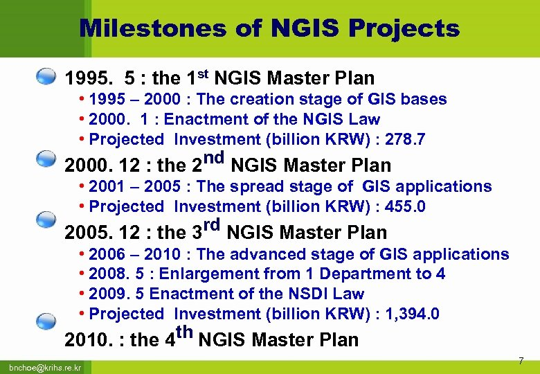 Milestones of NGIS Projects 1995. 5 : the 1 st NGIS Master Plan •