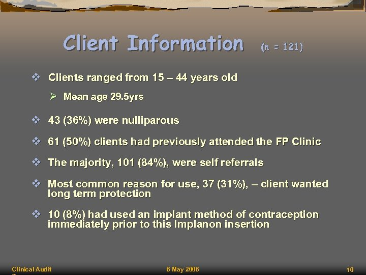 Client Information (n = 121) v Clients ranged from 15 – 44 years old