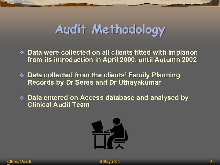 Audit Methodology v Data were collected on all clients fitted with Implanon from its
