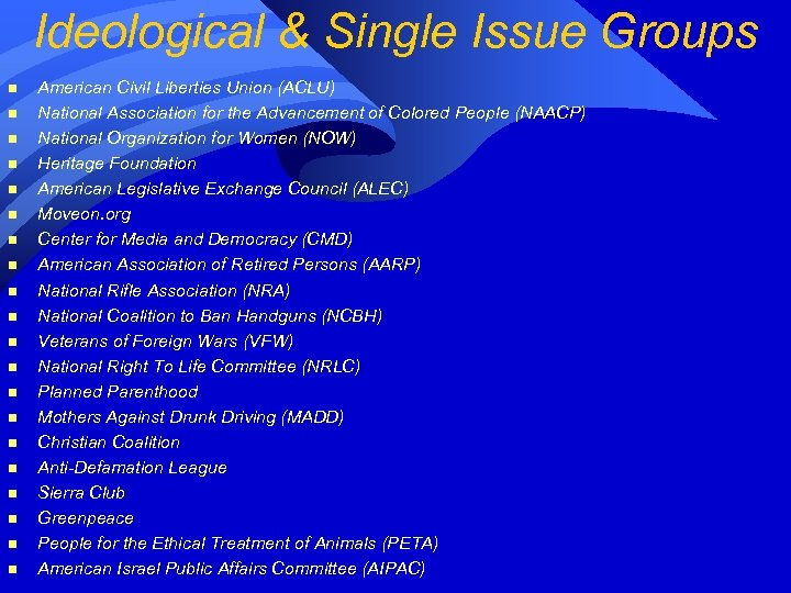 Ideological & Single Issue Groups n n n n n American Civil Liberties Union
