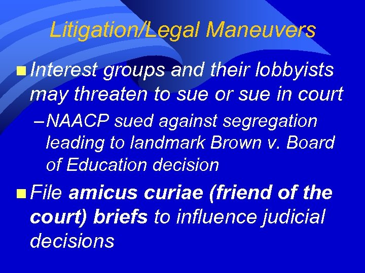Litigation/Legal Maneuvers n Interest groups and their lobbyists may threaten to sue or sue