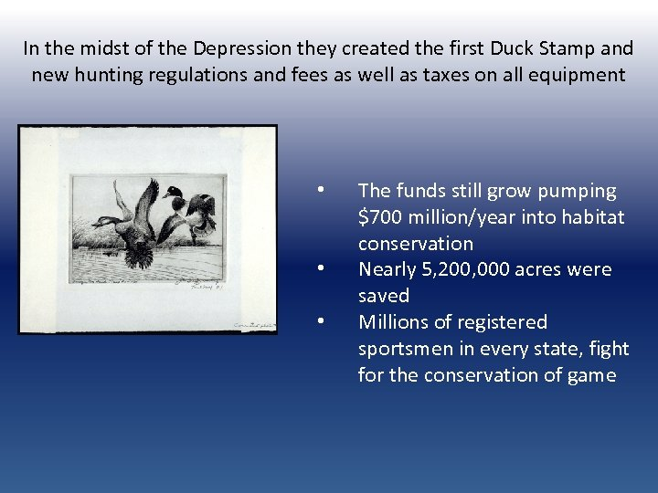 In the midst of the Depression they created the first Duck Stamp and new