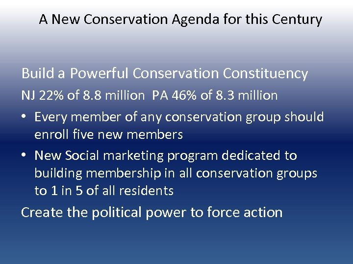 A New Conservation Agenda for this Century Build a Powerful Conservation Constituency NJ 22%