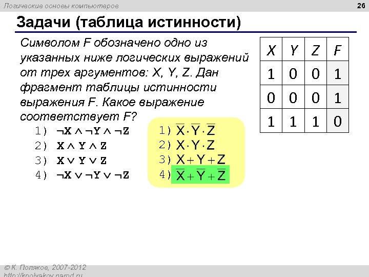 26 Логические основы компьютеров Задачи (таблица истинности) Символом F обозначено одно из указанных ниже