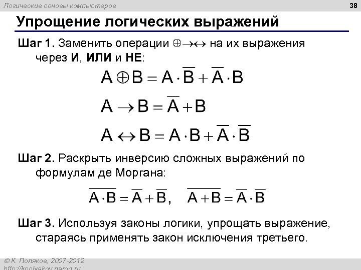 Логические основы компьютеров Упрощение логических выражений Шаг 1. Заменить операции на их выражения через