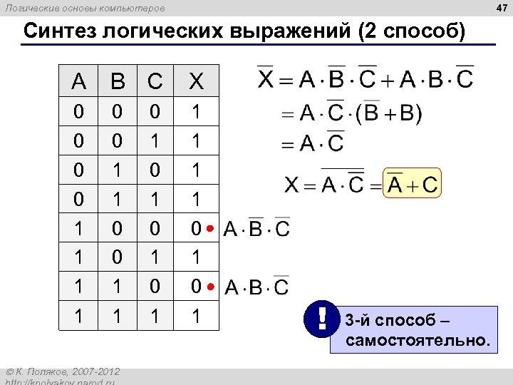 47 Логические основы компьютеров Синтез логических выражений (2 способ) A B C X 0