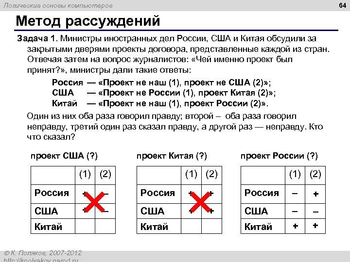 64 Логические основы компьютеров Метод рассуждений Задача 1. Министры иностранных дел России, США и