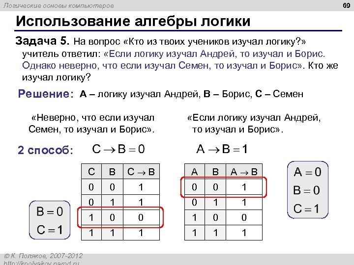 69 Логические основы компьютеров Использование алгебры логики Задача 5. На вопрос «Кто из твоих