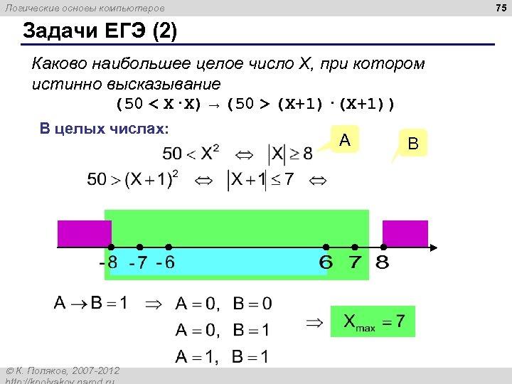 75 Логические основы компьютеров Задачи ЕГЭ (2) Каково наибольшее целое число X, при котором