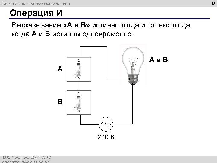 9 Логические основы компьютеров Операция И Высказывание «A и B» истинно тогда и только