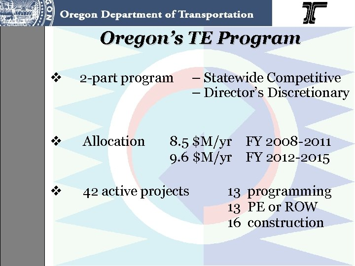 Oregon's TE Program v 2 -part program v Allocation v 42 active projects –