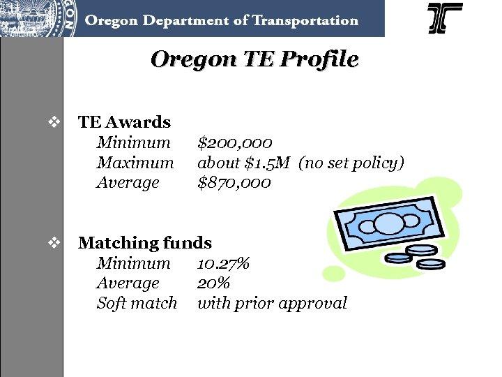 Oregon TE Profile v TE Awards Minimum Maximum Average $200, 000 about $1. 5