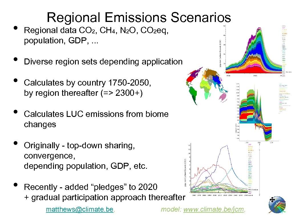 • • • Regional Emissions Scenarios Regional data CO 2, CH 4, N