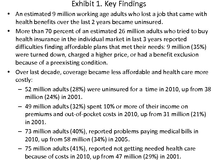Exhibit 1. Key Findings • An estimated 9 million working age adults who lost