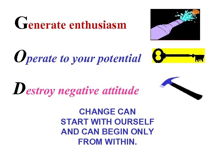 Generate enthusiasm Operate to your potential Destroy negative attitude CHANGE CAN START WITH OURSELF