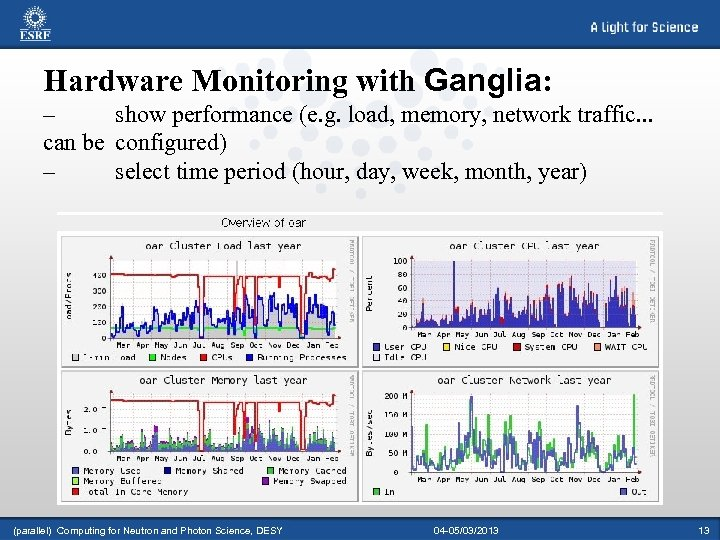 Hardware Monitoring with Ganglia: – show performance (e. g. load, memory, network traffic. .
