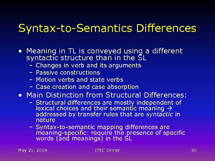 Syntax-to-Semantics Differences • Meaning in TL is conveyed using a different syntactic structure than