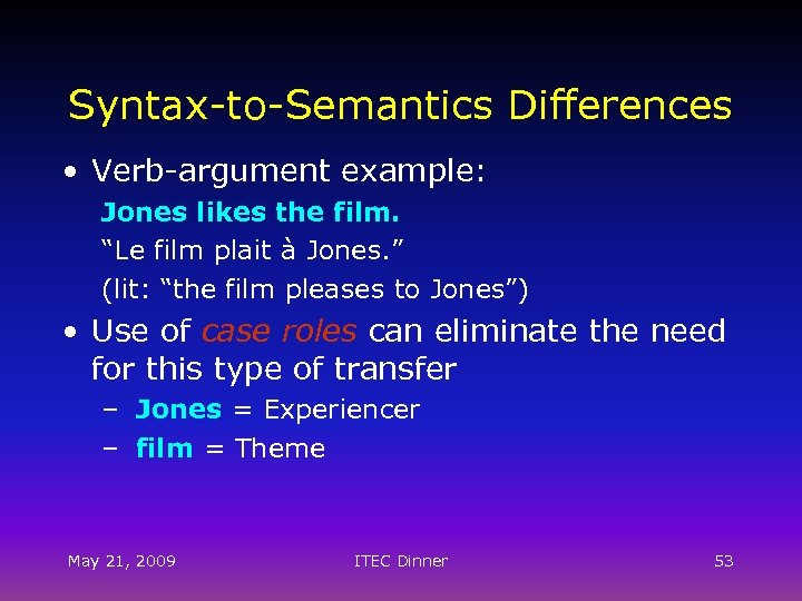 "Syntax-to-Semantics Differences • Verb-argument example: Jones likes the film. ""Le film plait à Jones."