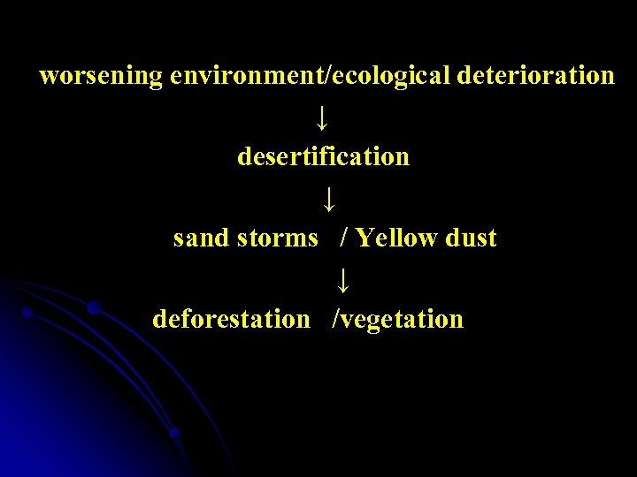 worsening environment/ecological deterioration ↓ desertification ↓ sand storms / Yellow dust ↓ deforestation /vegetation