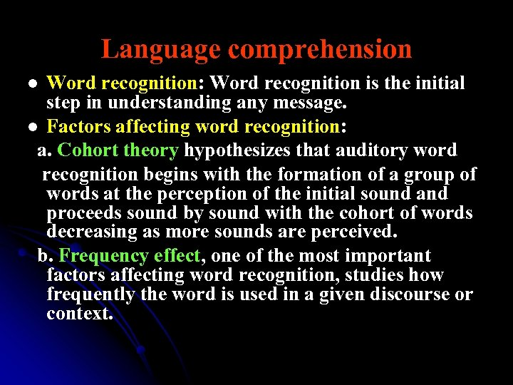 Language comprehension Word recognition: Word recognition is the initial step in understanding any message.
