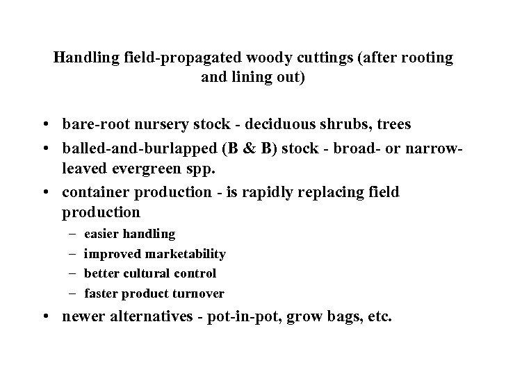Handling field-propagated woody cuttings (after rooting and lining out) • bare-root nursery stock -