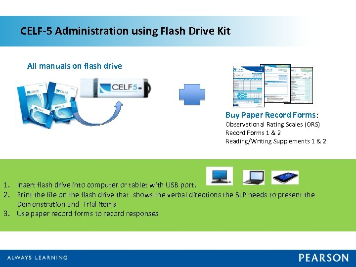 CELF-5 Administration using Flash Drive Kit All manuals on flash drive Buy Paper Record