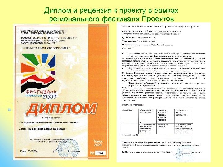 Диплом и рецензия к проекту в рамках регионального фестиваля Проектов
