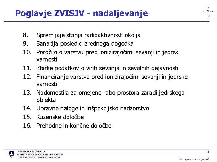 Poglavje ZVISJV - nadaljevanje 8. Spremljaje stanja radioaktivnosti okolja 9. Sanacija posledic izrednega dogodka