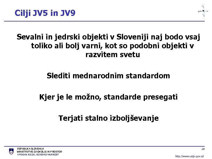 Cilji JV 5 in JV 9 Sevalni in jedrski objekti v Sloveniji naj bodo