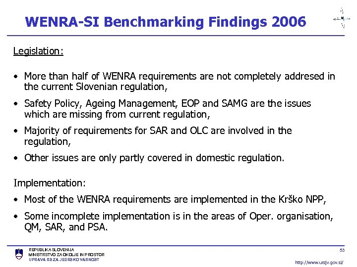 WENRA-SI Benchmarking Findings 2006 Legislation: • More than half of WENRA requirements are not