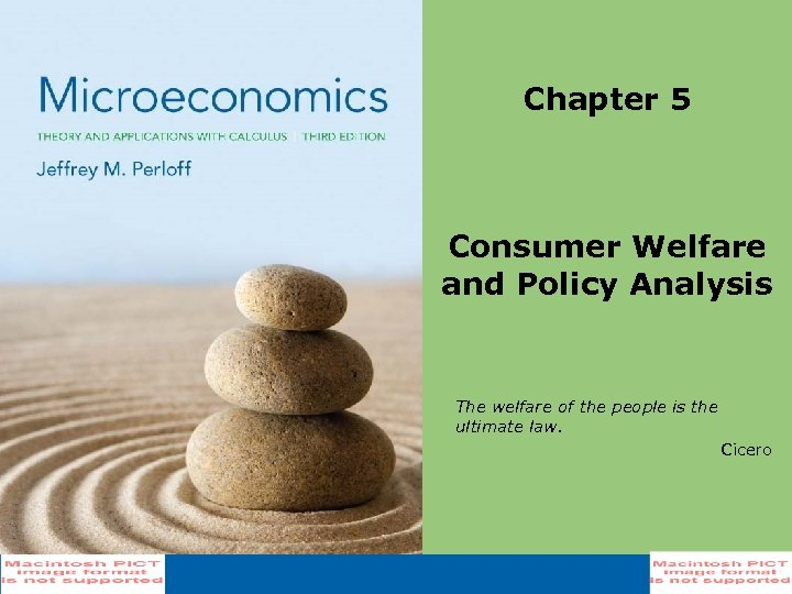 Chapter 5 Consumer Welfare and Policy Analysis The welfare of the people is the