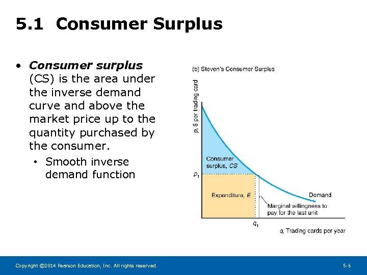 5. 1 Consumer Surplus • Consumer surplus (CS) is the area under the inverse