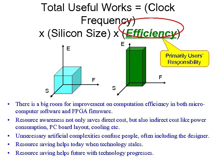 Total Useful Works = (Clock Frequency) x (Silicon Size) x (Efficiency) E E Primarily