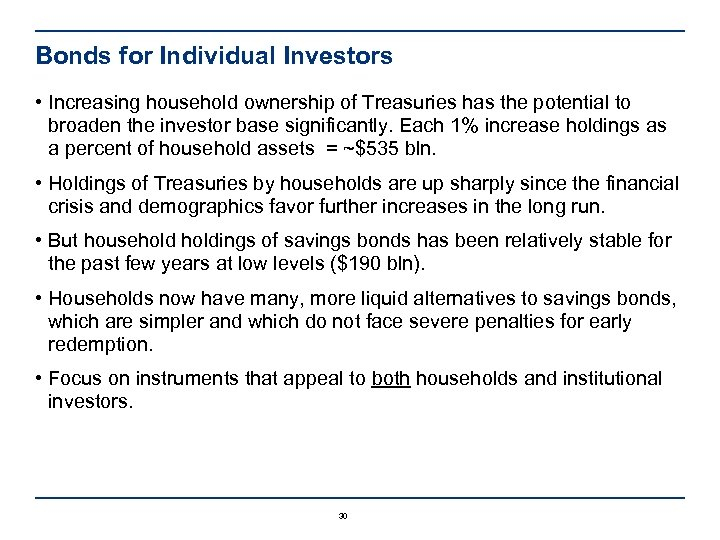 Bonds for Individual Investors • Increasing household ownership of Treasuries has the potential to