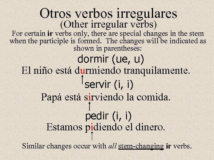 Otros verbos irregulares (Other irregular verbs) For certain ir verbs only, there are special