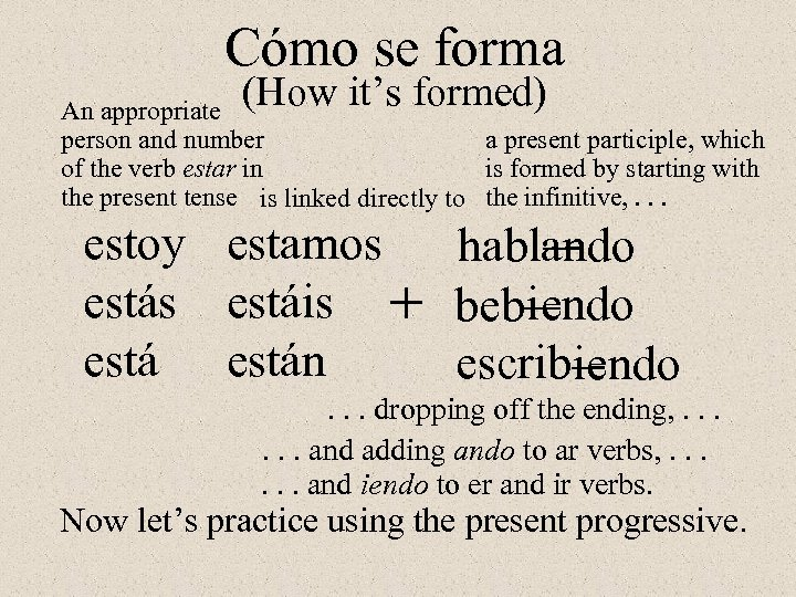Cómo se forma (How it's formed) An appropriate a present participle, which person and