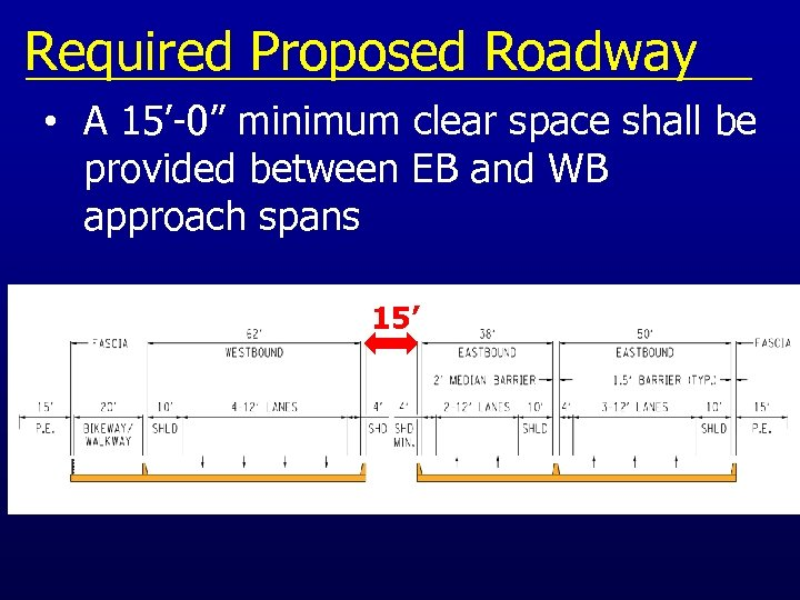 "Required Proposed Roadway • A 15'-0"" minimum clear space shall be provided between EB"