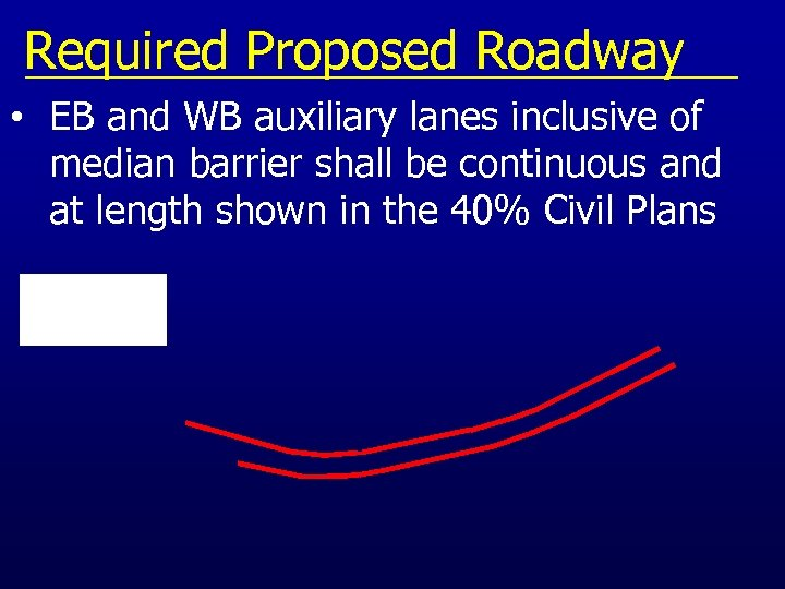 Required Proposed Roadway • EB and WB auxiliary lanes inclusive of median barrier shall