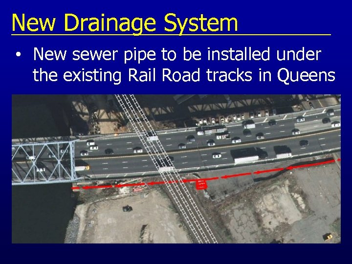 New Drainage System • New sewer pipe to be installed under the existing Rail